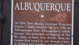 Official Historic Scenic Marker about Albuquerque's founding located in Old Town. Photo by Brian DeGruchy.