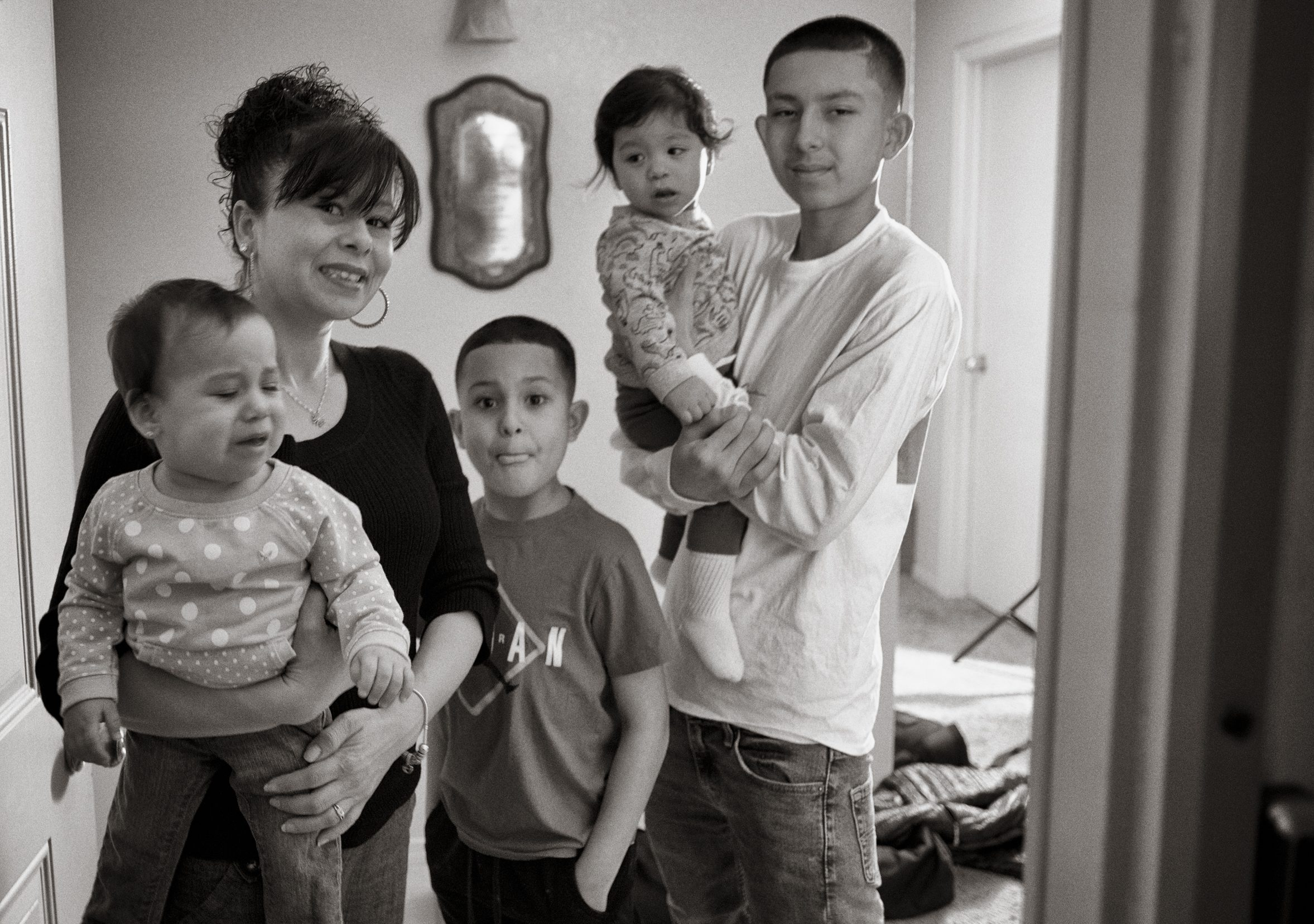 Frankie with her sons Joedamien,15, and Enrique, 9, and 1-year-old twins Adam and Dyna.