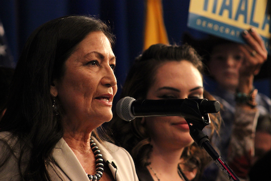 Democrat Debra Haaland giving her victory speech for the U.S House of Representative seat on Tuesday night at Hotel Albuquerque. Photo By Amy Byres/ NM News Port
