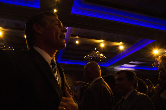 Democrat Senator Martin Heinrich went into the crowd after giving his victory speech on Tuesday night at Hotel Albuquerque. Photo By Amy Byres/ NM News Port
