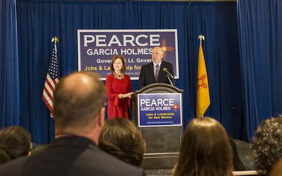Republican Steve Pearce delivers his consession speech on Nov 6 at the Republican watch party. Pearce lost to Democrat Michelle Lujan Grisham for the New Mexico govenor's seat Photo By Anna Padilla/ NM News Port