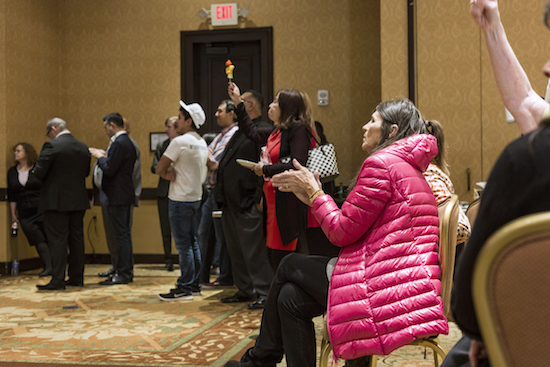 People attending the Republican watch party on Nov. 6 cheer on Republicans in the New Mexico state races Photo By Anna Padilla/ NM News Port