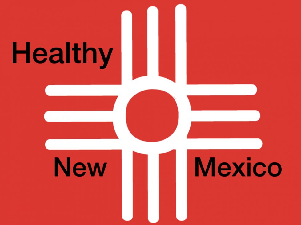 "mix of red cross and zia symbol with wording ""healthy new mexico"""