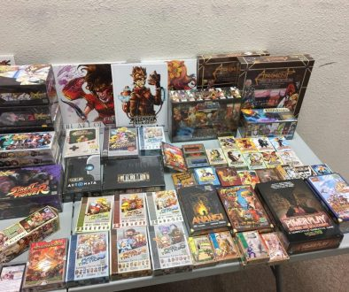 stacks of game boxes on a display table