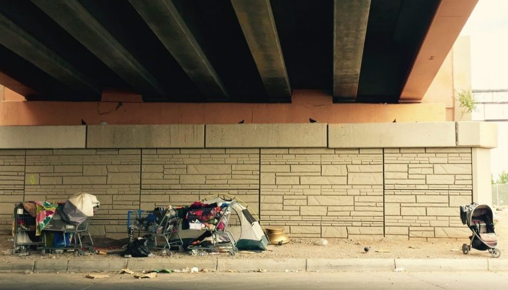 clothing and shopping cart under an overpass