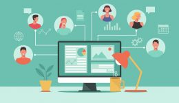people connecting and working online together on computer, remote working, work from home, work from anywhere, new normal concept, vector flat illustration